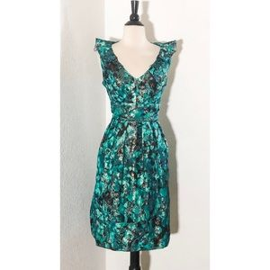Kay Unger New York jacquard Turquoise Dress 14